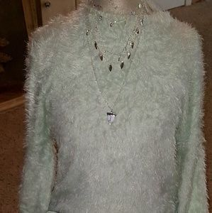 Mint green fuzzy sweater
